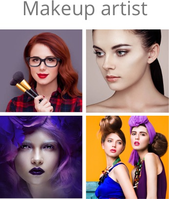 Example of using featured images for a make-up artist