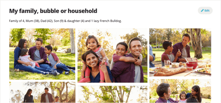My family, bubble or household